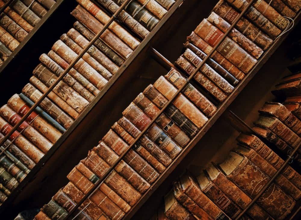 Christian Theology podcasts- bookshelf with books