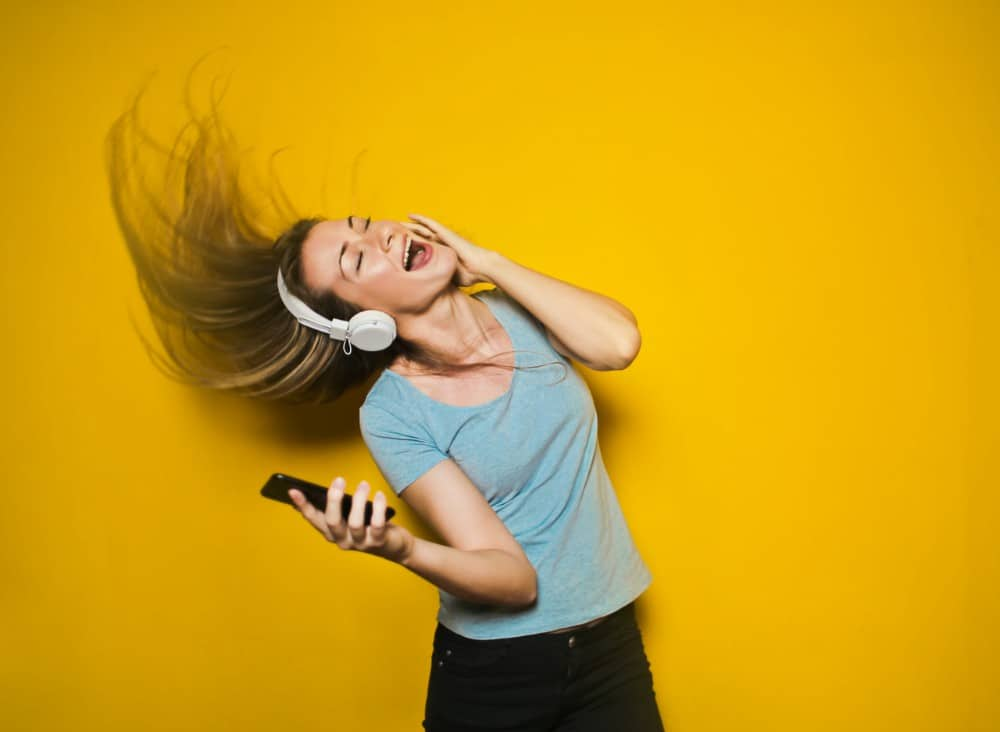 woman listening to christian podcast