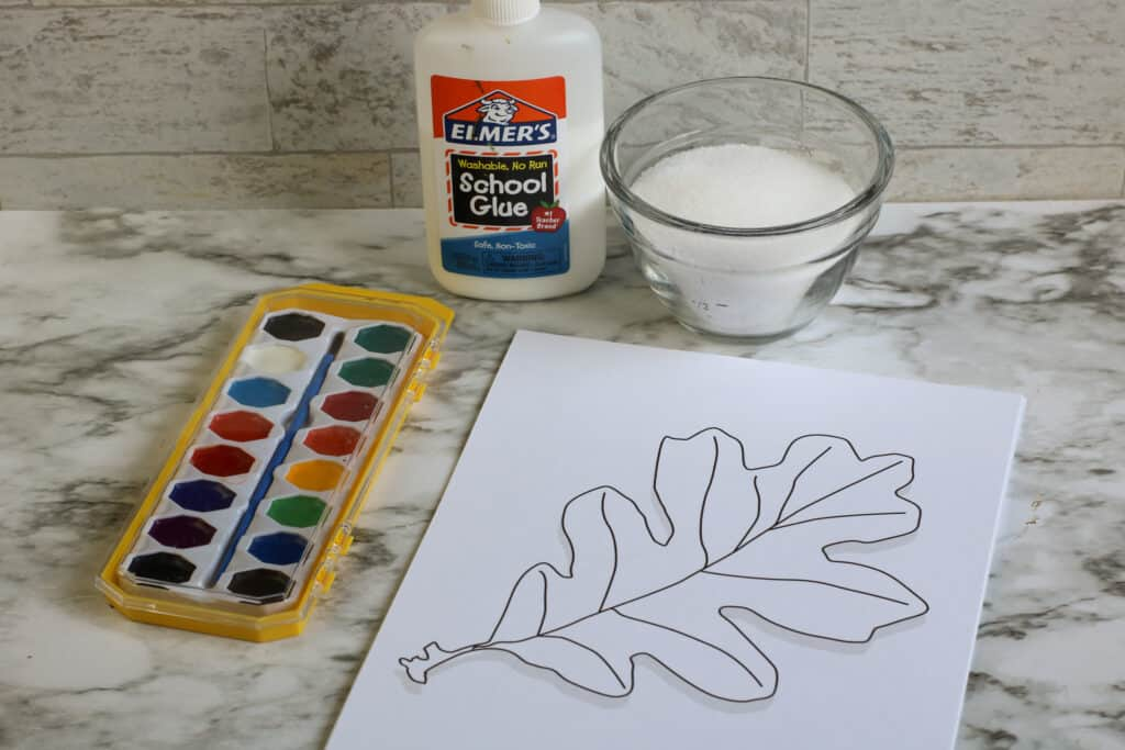 Fall Leaf Salt Painting Materials