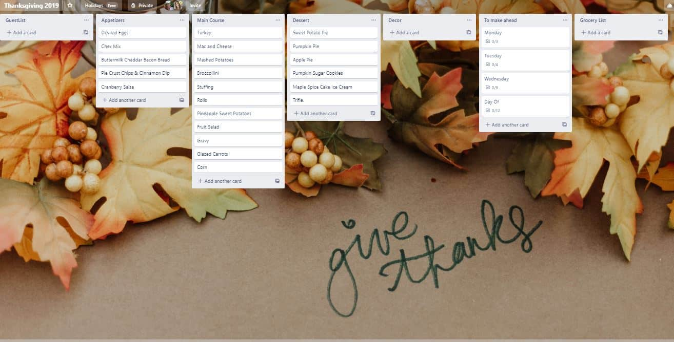 Layout of Trello Thanksgiving Board